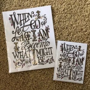 Hand lettered print &greeting card-with gold foil